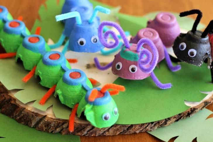 Egg Carton Bugs: Cute Cardboard Craft Idea for Kids