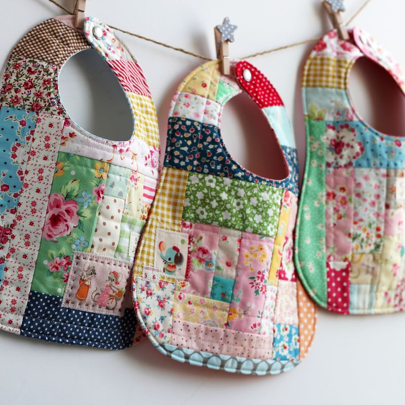 DIY Scrap Fabric Patchwork Bib with Rectangle and Square Scrap Patches