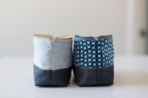 Open-Wide Zippered Pouch Project With Rustic Jeans Bottom by Noodlehead