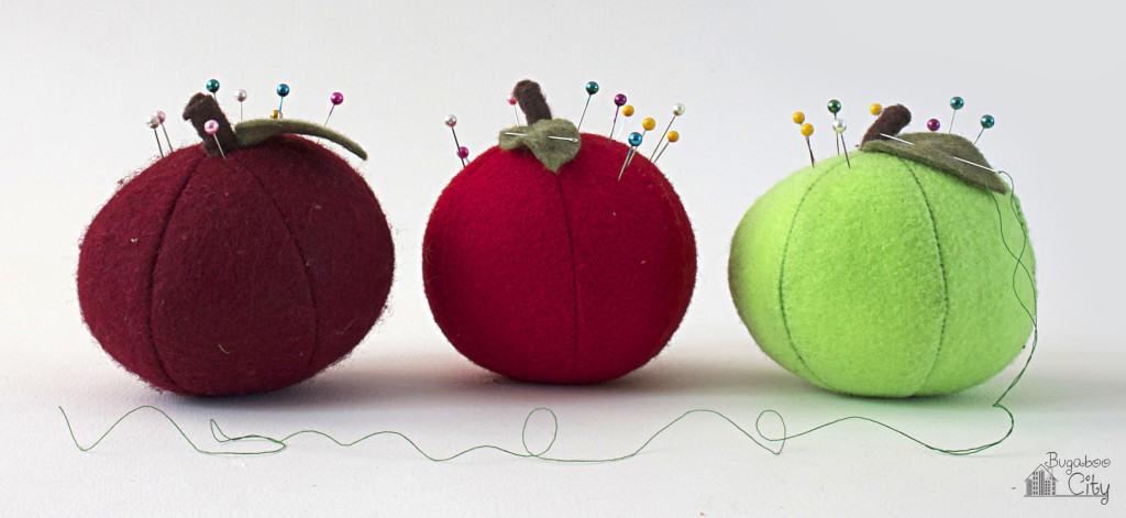 Pretty and Colorful Felt Apple Pincushions Craft Idea