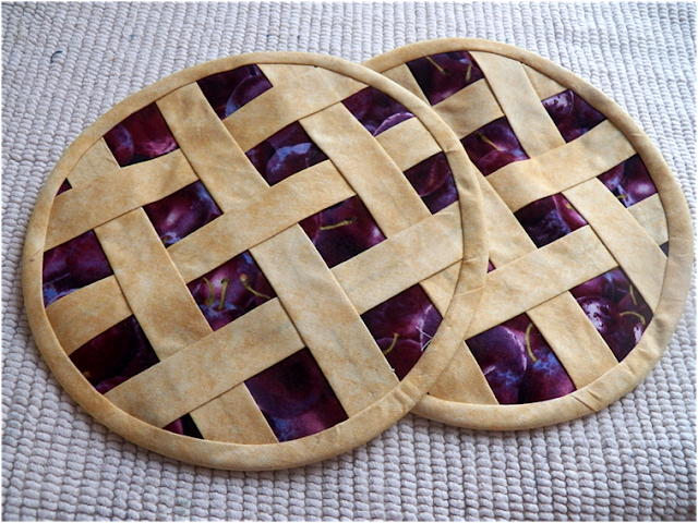 Creatively Sewn Pie Potholders with Insulbrite Insulating Fabric Materials