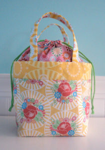 Frenzy Gathered Top Bag with Printed Fabric in Free-Pattern Shape