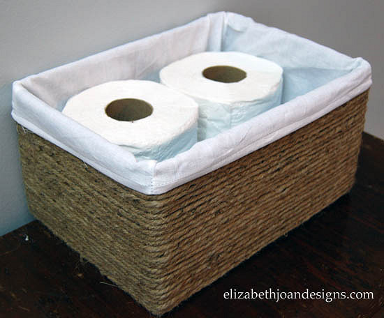 DIY Basket Bathroom Organizer with Rope Surface over Cardboard Box Base