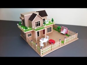 A Beautiful Mansion House With Fairy Garden using Cardboard & Popsicle Sticks