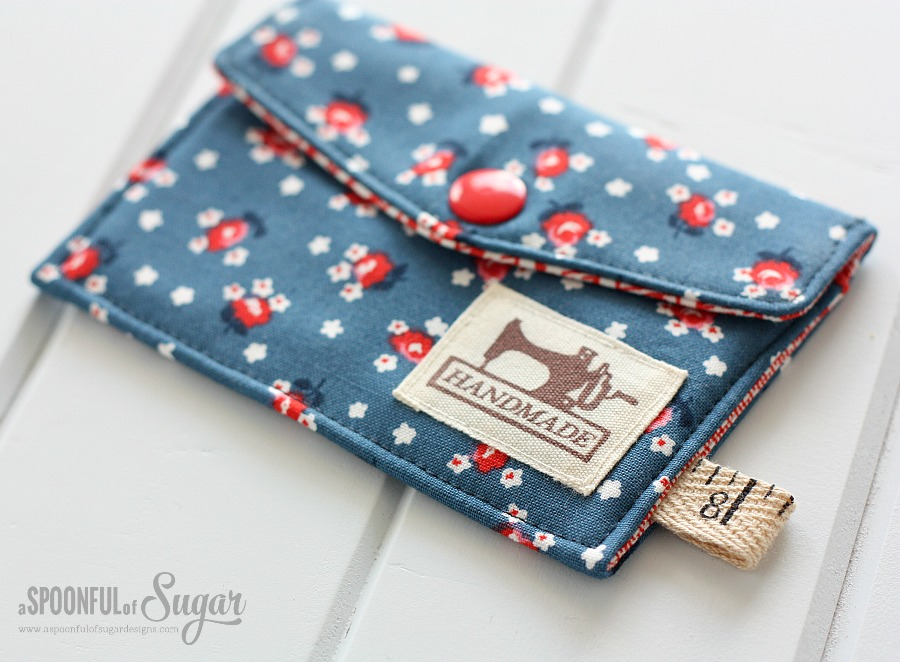 DIY Scrap Fabric Business Card Wallet by A Spoonful of Sugar