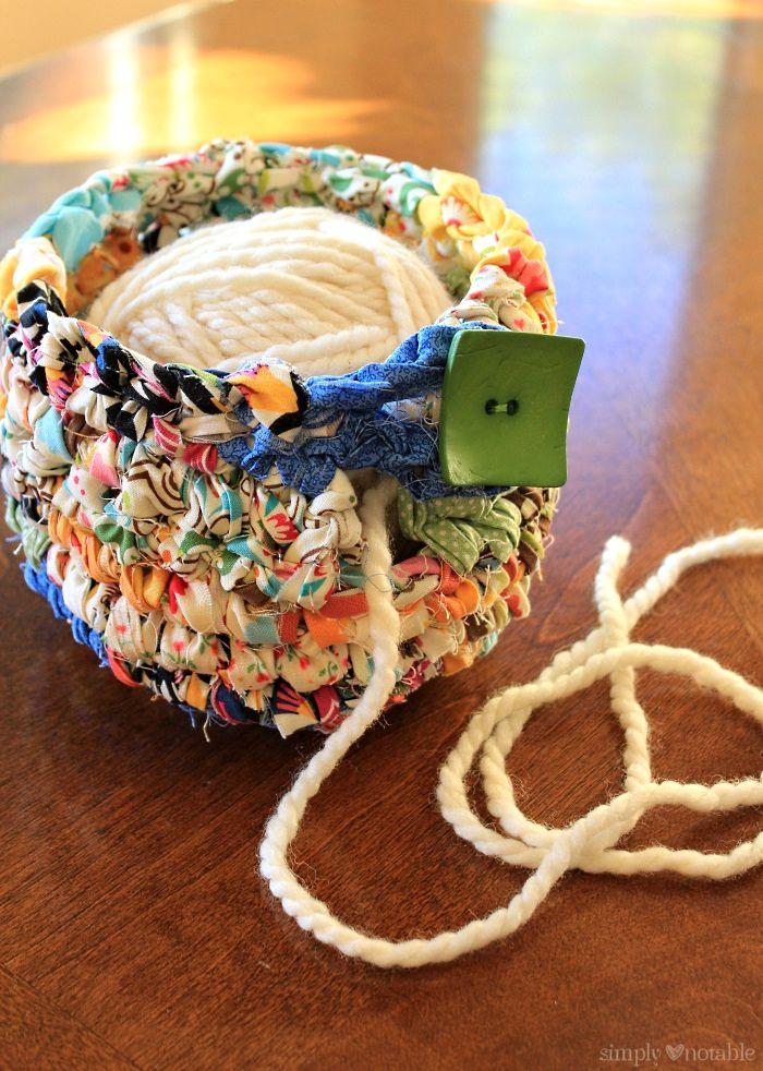 DIY Multicolored Scrap Fabric Yarn Bowl in Crochet Pattern