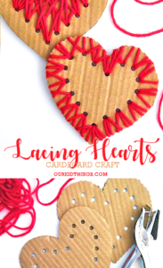 Cardboard Lacing Hearts with Yarn Designs: Simple Gift Idea for Preschoolers