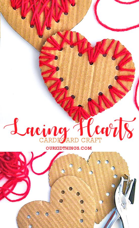 Cardboard Lacing Hearts with Yarn Designs: Simple Gift Idea for Preschoolers