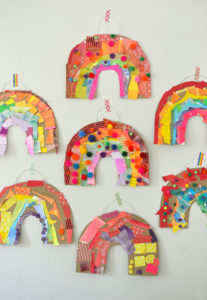 Cardboard Rainbow Collage- DIY Wall Art Project for Toddlers