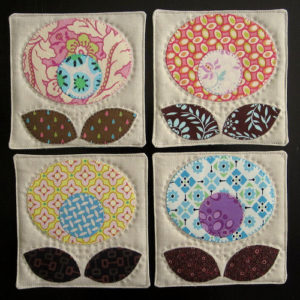 Cotton Pop Flower Coaster Tutorial with Contrasting Fabric Scrap Applique