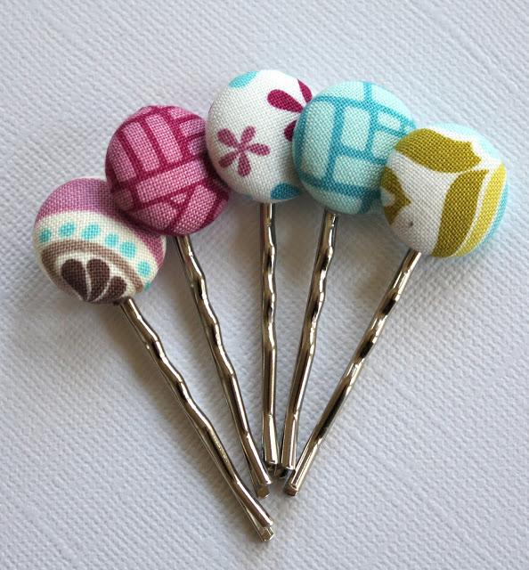 DIY Bobby Pins with Button Heads Covered with Catchy Fabric Scrap Coating