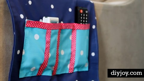 DIY Remote Organizer Caddy from Fabric Scraps with Pretty Ribbon Edges