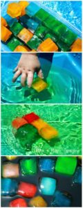 Play Pool Activity with Ice: Colorful Ice Cubes with Food Coloring
