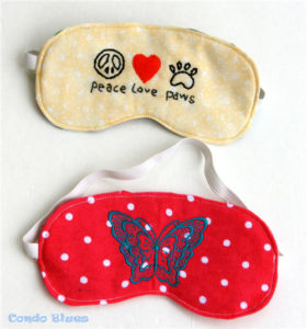 Flannel Made Scrap Fabric Sleep Mask with Adorable Embroidered Front Prints