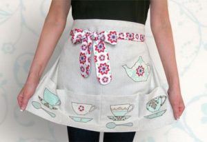 DIY Tea-Time Apron with Colorful Teapot Appliques On Several Front Pockets