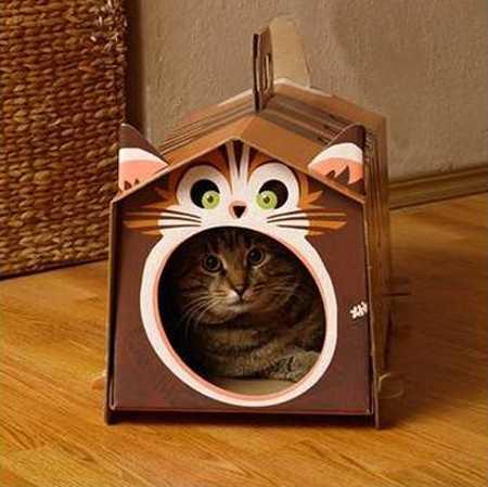 DIY Creative Pet Craft: Cardboard Cat House in Cat Shape