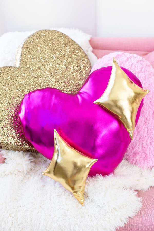DIY Emoji Heart Pillow with Sparkling Golden Accents By Studio DIY
