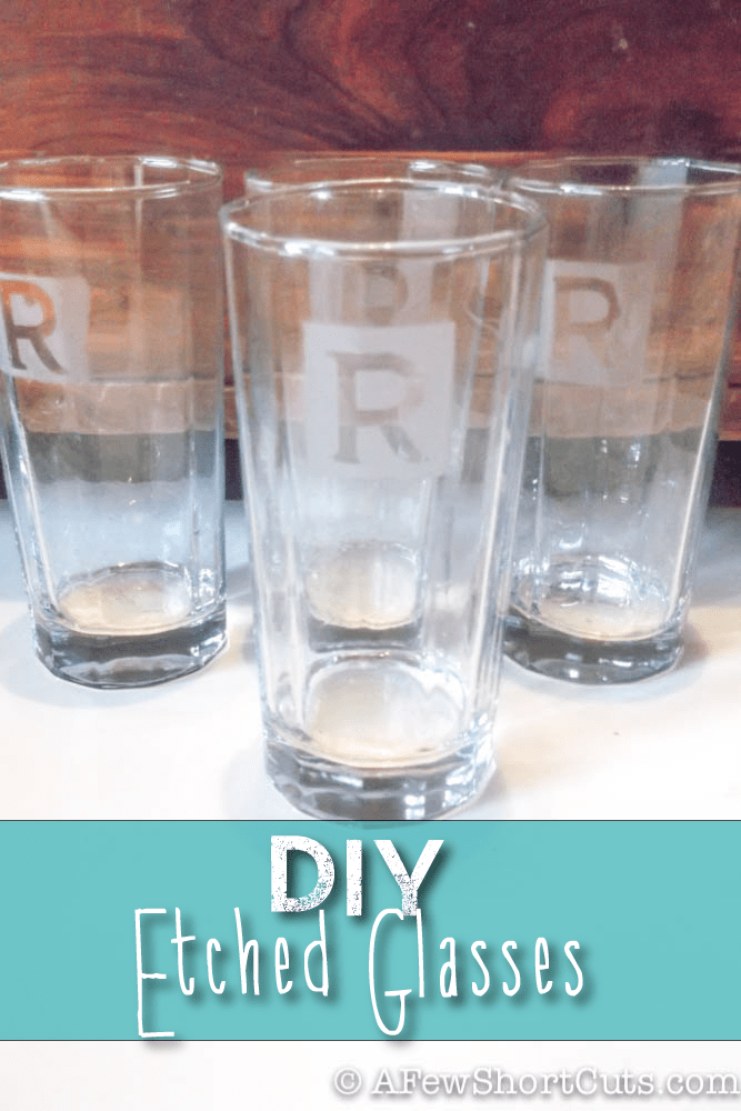 DIY Etched Glasses with Alphabetical Stickers