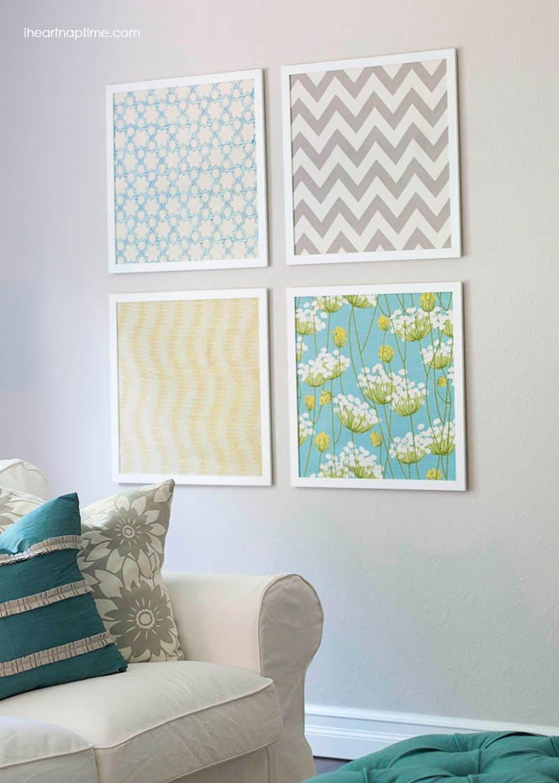 DIY Classic Fabric Wall Art Craft Idea with Frames