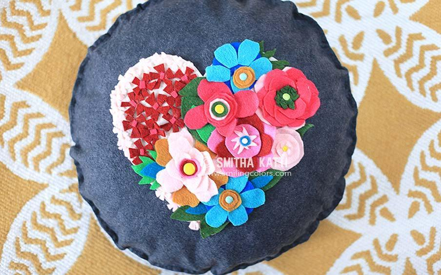 DIY Felt Flower Pillow Decor with Multicolor Felt Pieces in No-Sew Patchwork Pattern