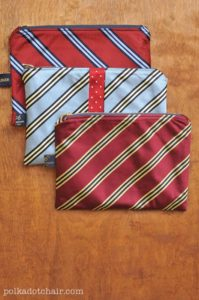 DIY Necktie Zip Fabric Pouches with Shirt Print Pattern: A Perfect Gift Idea for Men