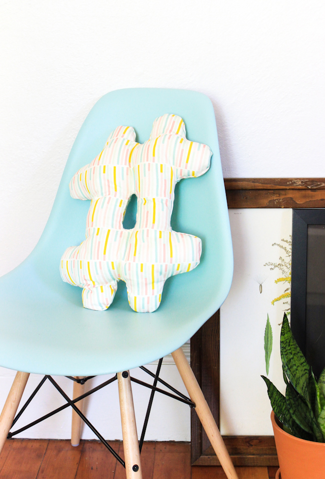 DIY Hashtag Pillow with Poly-Fil Stuffing Inside Soft Fabric Base