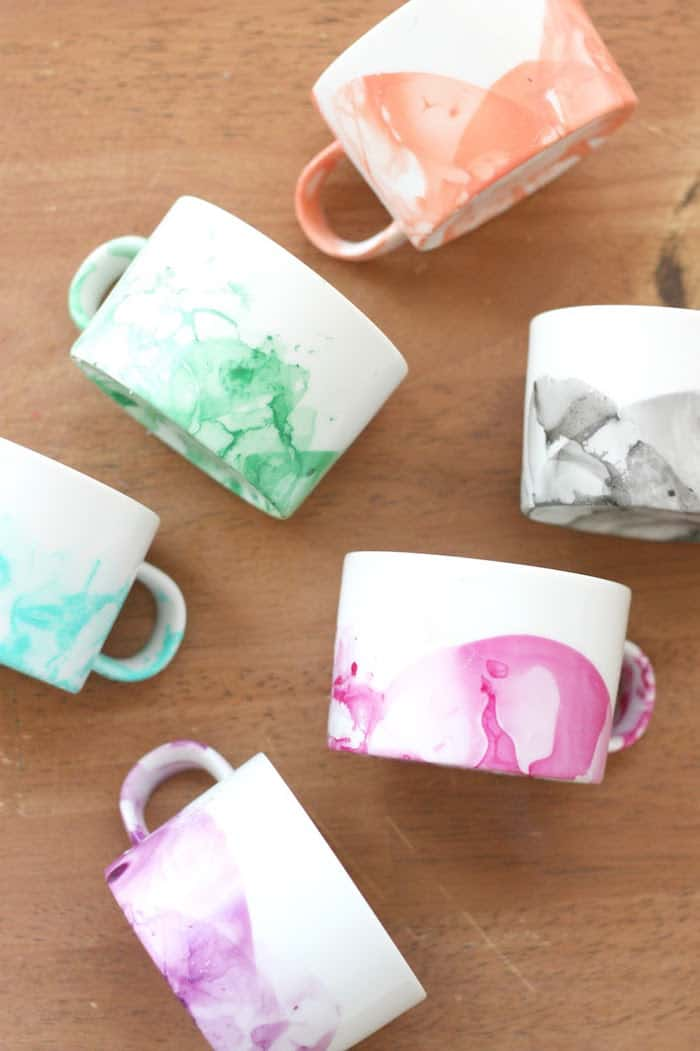 DIY Marbled Tea Cup Design with Nail Polish