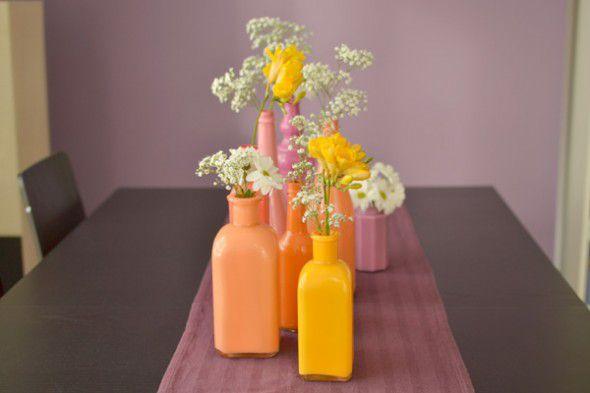 DIY Vase Craft Idea: Painted Glass Bottle Vases