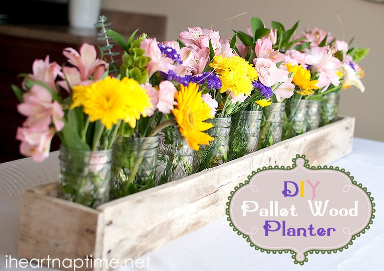 DIY Pallet Wood Rustic Planter for Dining Table Adornment