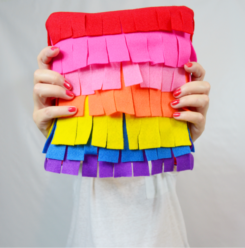 DIY Piñata Pillow Tutorial with Lots of Colorful Felt Scraps By Cozy Reverie