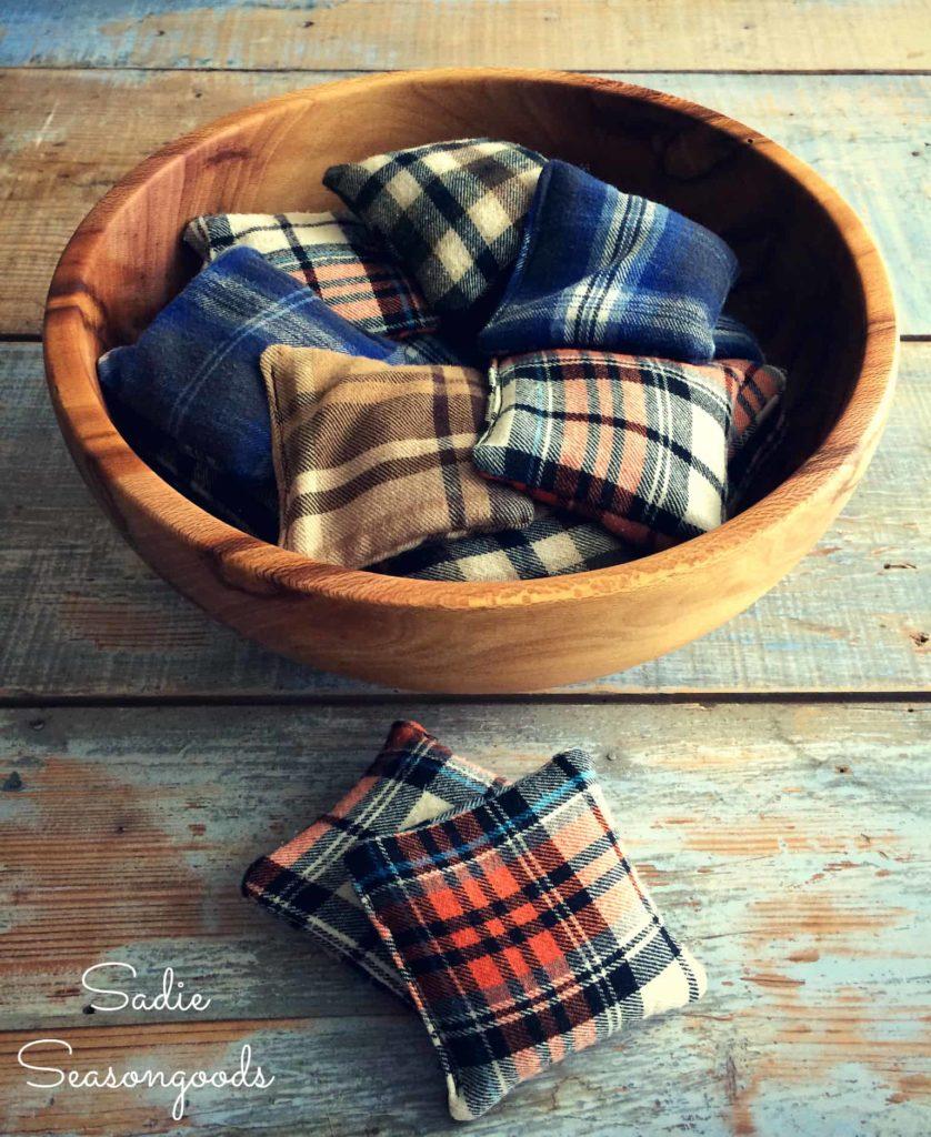 DIY Reusable Hand Warmers Made of Repurposed Flannel Shirt Scraps