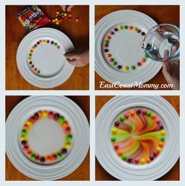 Simple Skittles Science Experiment with Warm Water for Rainbow Color Glance