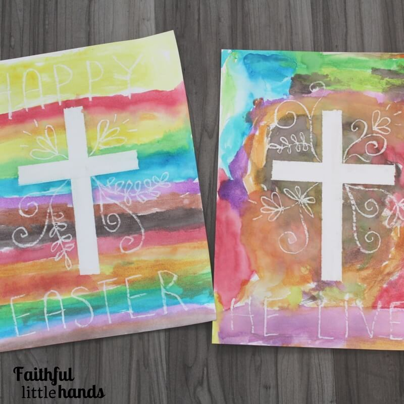 Sacred Springtime Craft Idea: Watercolor Resist Easter Cross