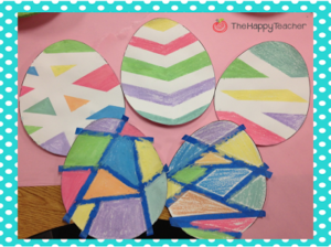 Colorful Easter Egg Spring Craft with Painter Tape Decor over Egg Templates