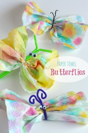 Super Cute Butterfly Craft with Color Stained Paper Towels
