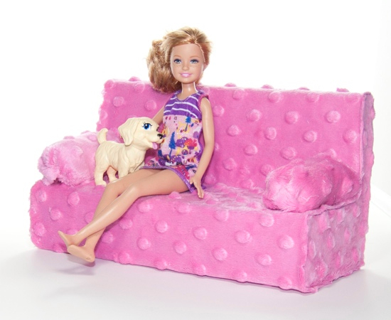 Classy DIY Barbie Couch with Cardboard Base and Fabric Cover