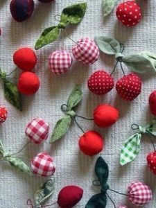 DIY Scrap Fabric Fruit Ornaments with Hanging End Loops