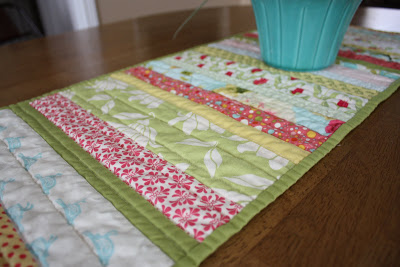Traditionally Looked Quilt Table Runner with Fabric Scrap Top Surface