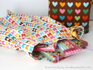 Easy Tutorial of Fat Quarter Drawstring Fabric Bag with Pattern Prints