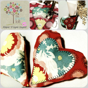 Easy Heart Shape Sewing Weights with Thickly Sewn Heart Applique Pattern