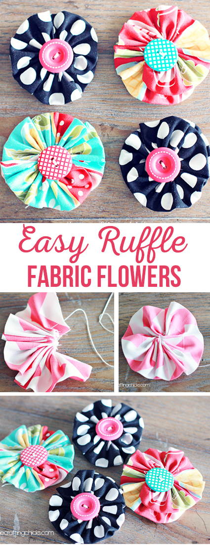 Artistic Ruffle Fabric Flowers with Matching Button Pistles