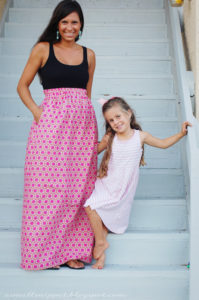 Elastic Waist Maxi Skirt Tutorial By A Small Snippet from Nice Pattern Printed Cotton Fabric