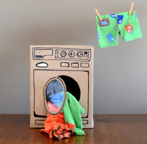 DIY Cardboard Washing Machine with Front-Load Display