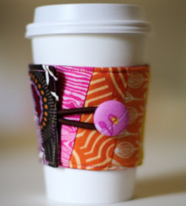 Fabric Coffee Sleeve Tutorial: DIY Coffee Warmer with Button Loop