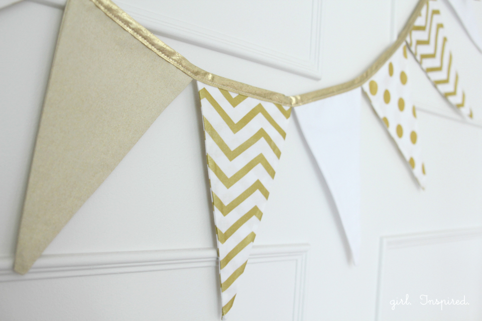 Fabric Pennant Banner with Nice Contrasting Prints and Gorgeous Golden Accent