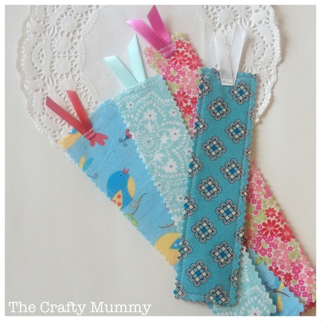 Easy Peasy Fabric Scrap Bookmarks with Pretty Ribbon Holding