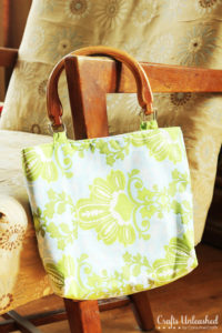 Fat Quarter Fabric Purse with Classic Wooden Handles