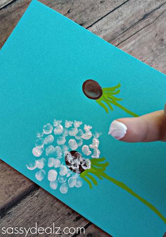 Fingerprinted Dandelion: Pretty Spring Craft Idea with Paint