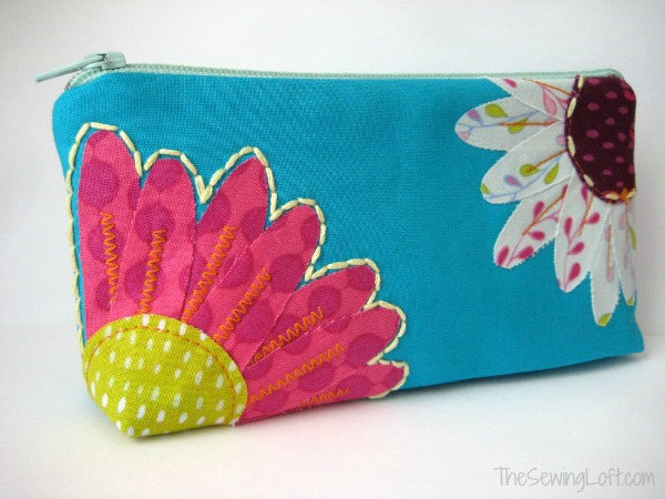 Whimsical Flower Zipper Pouch Pattern by The Sewing Loft