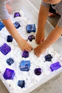 Frozen Shaving Cream Sensory Play with Glittery Ice Cubes in Galaxy Touch
